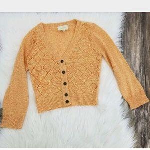 Modcloth XS Orange Cropped Sweater Cardigan